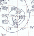 Tropical Storm Eight analysis 25 Oct 1957.png