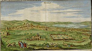 Revolutions of Tunis - Depiction of Tunis in the middle of the 17th century, the gardens and palace of Bardo are in the foreground