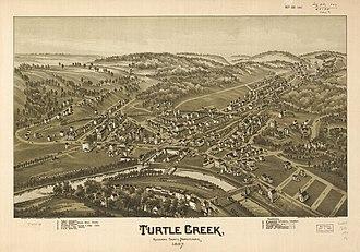 Turtle Creek, Pennsylvania - A detailed bird's-eye view of Turtle Creek in 1897