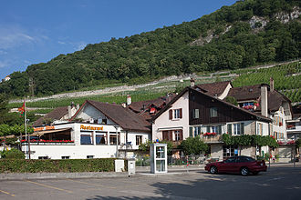Twann-Tüscherz - Twann village with extensive vineyards visible on the hill above the village