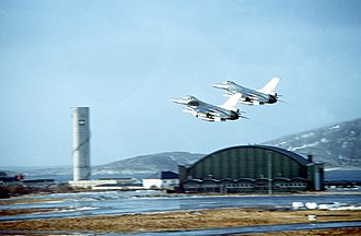 Bodø Main Air Station - Two F-16 fighters taking off from Bodø in 1982