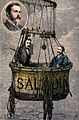 Two men are inside the basket of a hot-air balloon. Coloured Wellcome V0040866.jpg