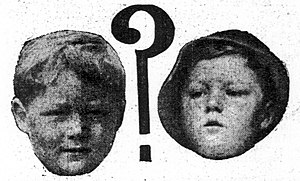 Disappearance of Bobby Dunbar - Photos in a 1914 newspaper of a confirmed Bobby Dunbar before he was lost (left) and the boy that was found later (right).