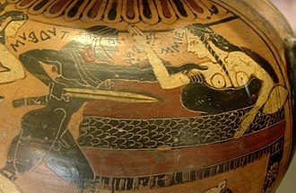 Tydeus - Tydeus and Ismene. Side A from a Corinthian black-figure amphora, ca. 560 BC.