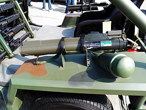 Type 66 Anti-tank Rockets on Stand of Special Assault Vehicle 20120211.jpg