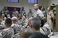 U.S. Marines watch as U.S. Marine Corps Lt. Gen. Samuel T. Helland, commander, U.S. Marine Corps Forces Central Command; Commanding General, I Marine Expeditionary Force, arrives for a town hall meeting at 081119-M-SA716-004.jpg
