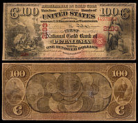 $100 National Gold Bank Note, The First National Gold Bank of Petaluma