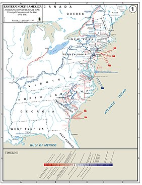 West Point Military Academy MAP of America east of the Mississippi River. Campaigns noted in New England; in the Middle colonies with three British (red sailing ship) naval victories; in the South with two British naval victories, and in Virginia with one French (blue sailing ship) naval victory. A Timeline bar graph below shows almost all British (red bar) victories on the left in the first half of the war, and almost all US (blue bar) victories on the right in the second half of the war.