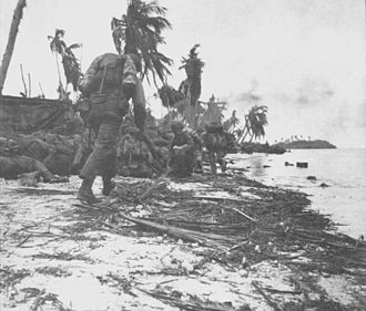 Battle of Guam (1944) - U.S. Marines move inland.