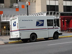 A United States Postal Service delivery truck ...