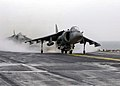 """US Navy 030224-N-6610T-519 An AV-8B Harrier jump jet assigned to the """"Tigers"""" of Marine Attack Squadron Five Four Two (VMA-542) prepares to takes off from the flight deck of the amphibious assault ship USS Bataan (LHD 5).jpg"""