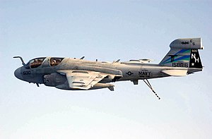 VAQ-135 - VAQ-135 EA-6B Prowler prepares to land aboard the USS Nimitz after returning from a mission in support of Operation Iraqi Freedom.