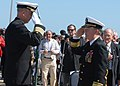 US Navy 070323-N-8102J-225 USS John F. Kennedy (CV 67) Commanding Officer Capt. Todd A. Zecchin salutes Commander, Naval Air Force Atlantic Rear Admiral H. D. Starling II during the ship's decommissioning ceremony prior to reti.jpg