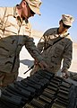 US Navy 071209-N-3857R-009 Storekeeper 1st Class Joseph Sanchez and Builder 1st Class Billy Thomas, both attached to Naval Mobile Construction Battalion (NMCB) 1, lay out ammunition prior to weapons familiarization training.jpg