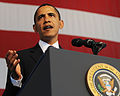 US Navy 091026-N-1522S-009 .S. President Barack Obama delivers remarks to about 3500 Sailors, Marines and other service members during a visit to Naval Air Station Jacksonville.jpg