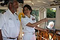 US Navy 110715-N-NT881-141 Rear Adm. Gretchen S. Herbert, commander of Navy Cyber Forces, takes the wheel of the historic boat Mary Jemison.jpg