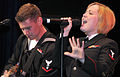 US Navy 111106-N-IK959-297 Musician 3rd Class Steve Lamonica and Musician 3rd Class Michelle Werner perform Journey's.jpg