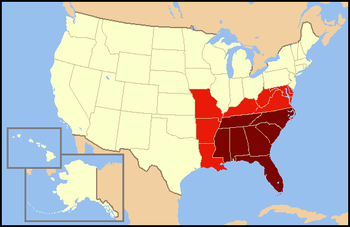 "Dark red states are usually included in definitions of the Southeastern United States. Light red states are considered ""Southeastern"" with less frequency and included in other regions of the United States."