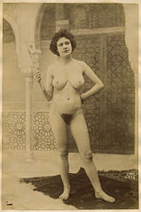 Untitled, Nude before Moorish backdrop Albumen print, ca. 1890.jpg