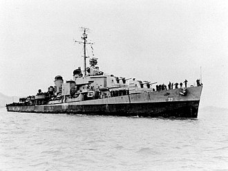 USS Adams (DM-27) - Adams off San Francisco, California, 2 May 1945.