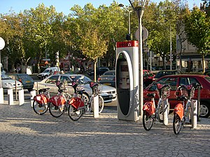Green vehicle - Vélo'v bicycle sharing system in Lyon, France