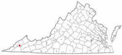 Location of Coeburn, Virginia