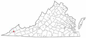 Coeburn, Virginia - Image: VA Map doton Coeburn