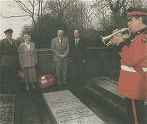 Arthur Martin-Leake - Memorial service at High Cross, Hertfordshire, for Martin-Leake, 2002. Major C.D.V. Bonfield, RAMC, Mrs Sybil Martin-Leake, Mr Hugh Martin-Leake, Major Charles Monk and Trumpeter C/Sergeant Gardner, The Royal Anglian Regiment.