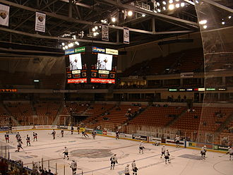 University of New Hampshire at Manchester - A view of the ice hockey surface at SNHU Arena