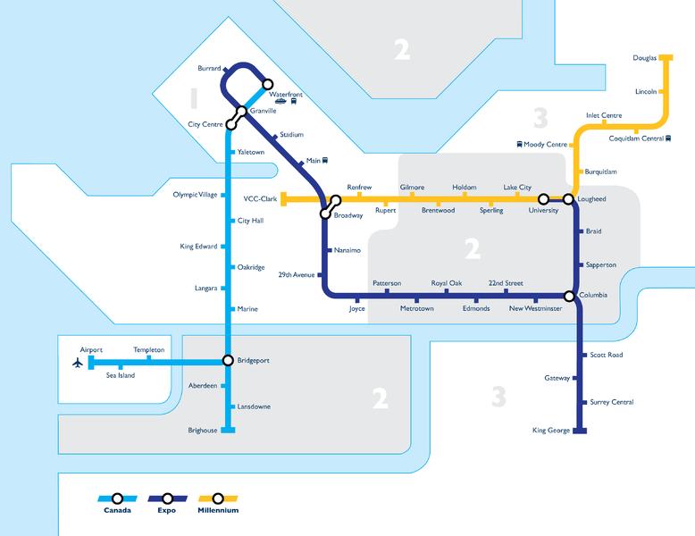 Mapa do transporte Público em Vancouver