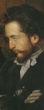 Vasiliy Pukirev (self-portrait) at Neravnyj brak painting.jpg