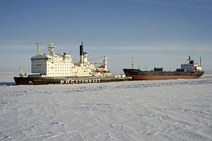 Vaygach (1989 icebreaker) - Image: Vaygach escorting Pavel Vavilov (2229984)