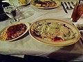 Veal parmigiana and angel hair pasta with marinara sauce from Afredo's Italian Restaurant, Atlanta.JPG
