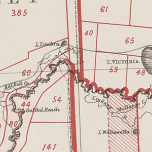 South Australia–Victoria border dispute - The border between Victoria, South Australia and New South Wales, as marked on an 1883 map showing Victoria's western border is further to the west than that of New South Wales.