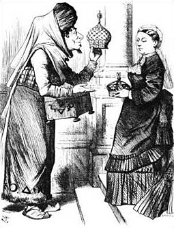"An 1876 political cartoon of Benjamin Disraeli (1804-1881) making Queen Victoria Empress of India. The caption reads ""New crowns for old ones!"" Victoria Disraeli cartoon.jpg"