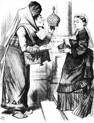 Emperor of India - New Crowns for Old, the cartoon's caption references a scene in Aladdin where lamps are exchanged. The Prime Minister, Benjamin Disraeli, is offering Queen Victoria an imperial crown in exchange for an earl's coronet. She made him the Earl of Beaconsfield at this time.