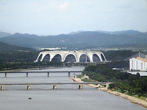 Rungrado 1st of May Stadium - Image: Views from Yanggakdo International Hotel 10