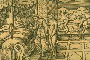 Cinyras - Myrrha and Cinyras. Engraving by Virgil Solis for Ovid's Metamorphoses