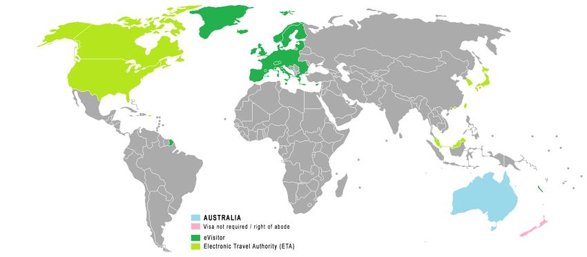 Die Karte zeigt die Länder für das ETA in blau und für das eVisitor in grün-gelb