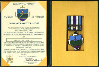 Vermont Patriots Medal - Medal and scroll in presentation case