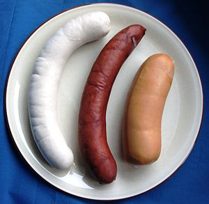 Cervelat - A St. Galler bratwurst (the white one), a schüblig and a cervelat, cooked and served hot