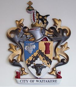 Waitakere city coat of arms.JPG