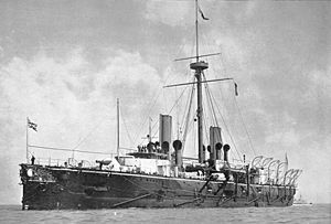 HMS Warspite (1884) - Warspite as she appeared later in her career, with a single military mast and sailing rig removed