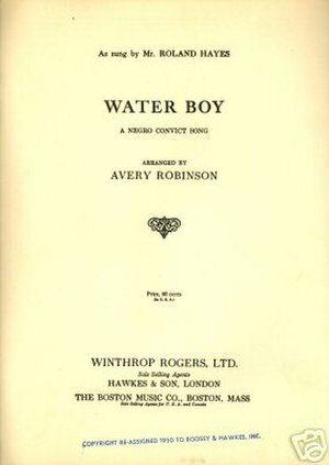 Waterboy (song) - Image: Water Boy sheet music
