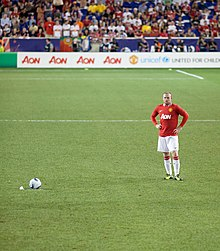 Rooney preparing to take a free kick for Manchester United vs MLS All Stars  at the Red Bull Arena in New Jersey bee3a3e5c