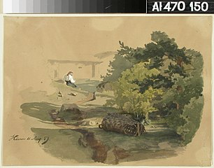 Landscape with Shingle Basket and Woman Sitting