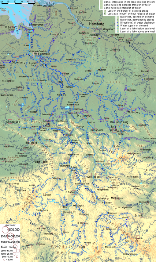 Cartina Germania Con Fiumi.Weser Wikipedia