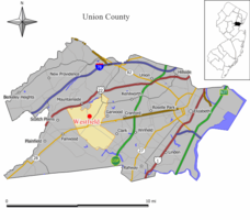 Map of Westfield in Union County. Inset: Location of Union County highlighted in the State of New Jersey.