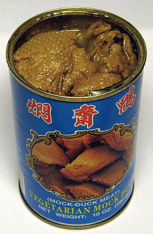 "Wheat gluten (food) - Canned fried wheat gluten (""vegetarian mock duck""), product of Taiwan"