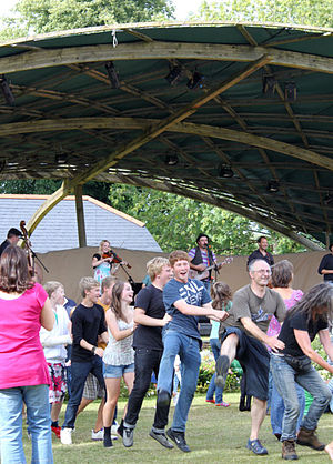 Mad Dog Mcrea - Festival goers in party mood with Mad Dog Mcrea at Whiteford in 2010